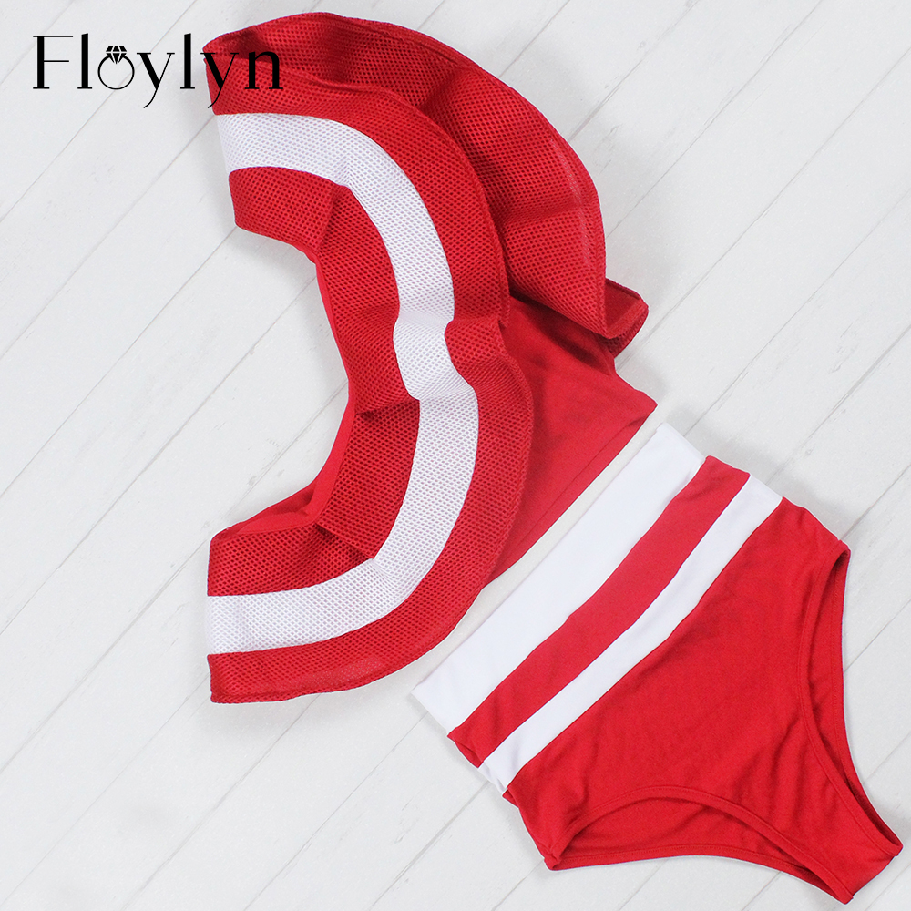 Floylyn Ruffle Bikini Set Women 2017 Striped One Shoulder Swimsuit Sexy High Waist Mesh Swimsuit Bathing Swim Suits Beach Wear new denim mesh spliced fishnet sexy jeans shorts high cut vintage cute bikini low rise waist micro mini hot short culb wear f35