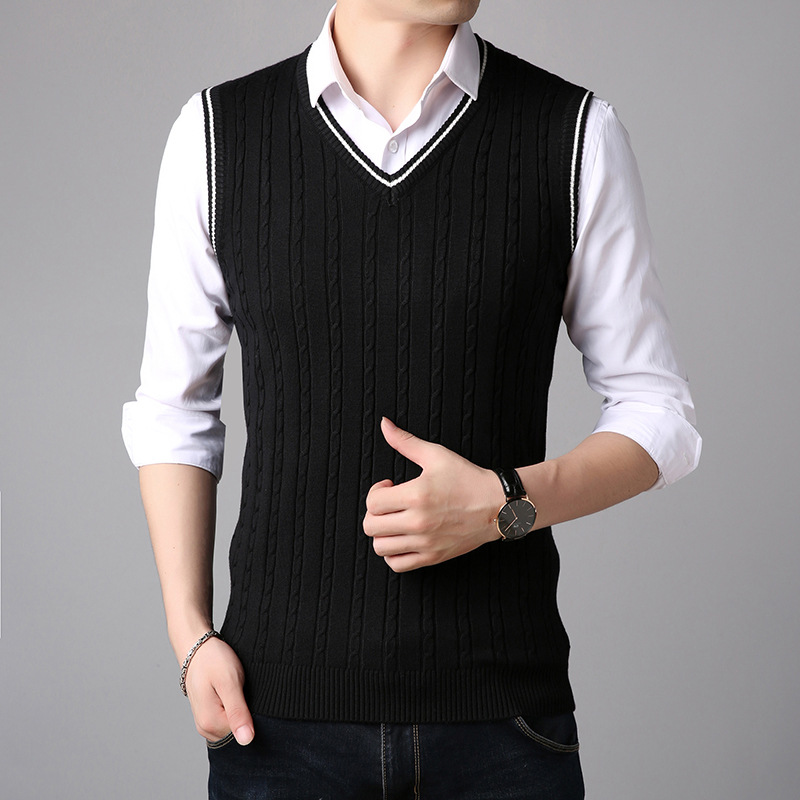 Sleeveless Sweater Tank Tops Men Autumn Warm Knitted Jumpers Vest For Men Classic Casual V Neck Basic Vest Mens Striped Sweater