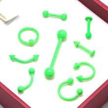 9 шт. зеленая неоновая краска цвет нержавеющая сталь пленница брови нос губы Лабрет Серьги Козелок язык пирсинг ювелирные изделия для тела