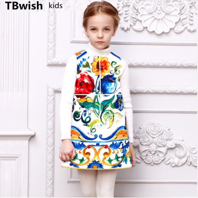 TBwish Girls Dresses Winter 2016 Brand Robe Princesse Fille Kids Dresses for Girls Clothes Majolica Print Children Costumes