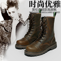 New Female Black Genuine Leather Motocycle Boots Women Round Toe Lace Up Womens Winter Shoes Brand High Martin Boots Brown 41 42