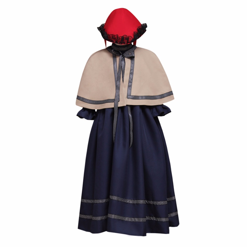Custom Made Girls Church Cosplay Costume Medieval Gothic Lotita Dress Cape Hat Costume L0516