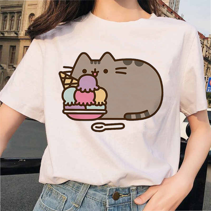 Pusheen Cat   T     Shirts     T  -  shirt   Harajuku Graphic Top Women Tshirt clothes Ullzang Female Cute Kawaii Korean Cartoon Tees Funny 90s