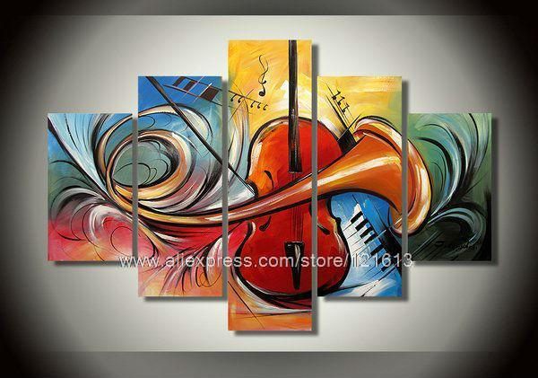 Abstract Guitar Music Large Canvas Art Cheap Wall Home Decor Hang Pictures Hot Sell