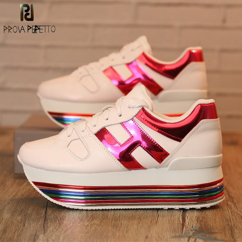 Rainbow Colorful Platform Sneakers Women Casual Shoes Laces Genuine Leather Ladies Shoes Tenis Feminino White Chunky