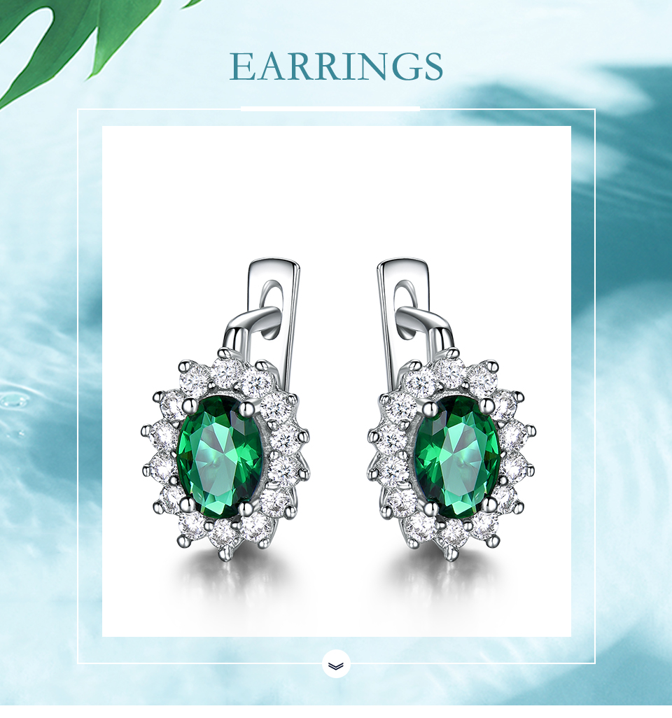UMCHO 925 Sterling Silver Earrings Gemstone Created Emerald Clip Earrings For Female Birthday Anniversary Gifts Fine Jewelry