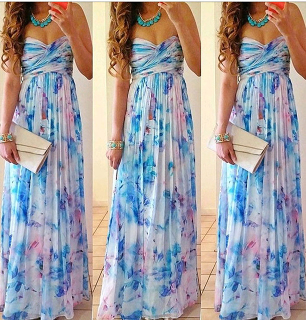 b7232471f4 Print Floral Evening Party Maxi Dress Sexy Elegant Women Strapless Tube Top  Chiffon Long Dresses Vestidos