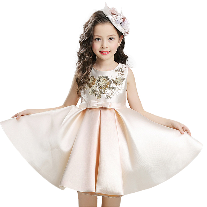 Girls Dress Mesh Pearls Children Wedding Christmas Party Dresses Kids Evening Ball Gowns Formal Baby Frocks Clothes for Girl