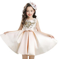 Girls Dress Mesh Pearls Children Wedding Christmas Party Dresses Kids Evening Ball Gowns Formal Baby Frocks
