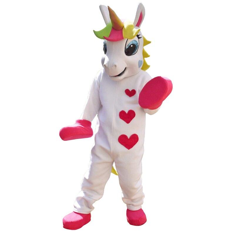 Licorne mascotte costume Animal poney mascotte costume mignon coeur imprimé défilé Clowns anniversaires pour adulte Halloween fête costumes