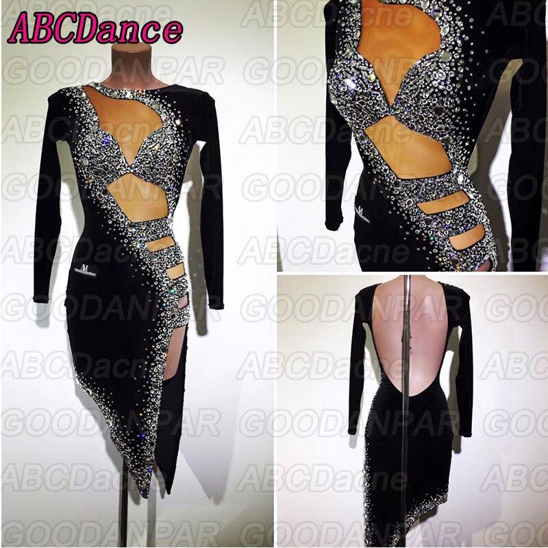 Robe de danse latine femmes manches longues noir sexy robes de bal costume salsa latine