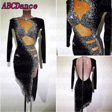 latin dance dress women Long sleeve black sexy ballroom dresses salsa costume 라틴댄스복 юбка латина