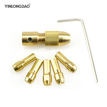 7Pcs Mini Drill Chucks 0.5-3.0mm Fit For Micro Twist Electronic Dremel Drill Collet Clamp Set Power Tool Accessories With Wrench 12v mini electric motor diy hand drill power tool with 3pcs brass collet 24pcs micro twist drill bit 4pcs hexagon screw wrench