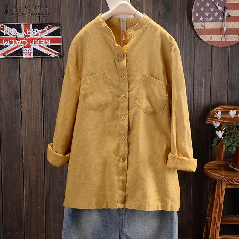 ZANZEA 2018 Autumn Button Down Casual Blouse Women Stand Collor Long Sleeve Shirt Elegant linen Top Female Cotton Work Blusa 5XL