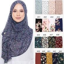 10 Stk/partij Gedrukt Bubble Chiffon Hijab Sjaal Ontwerp Bloem Sjaals Moslim Sjaals Hoofddoek Wraps Tulbanden Lange Sjaals 44 Kleuren