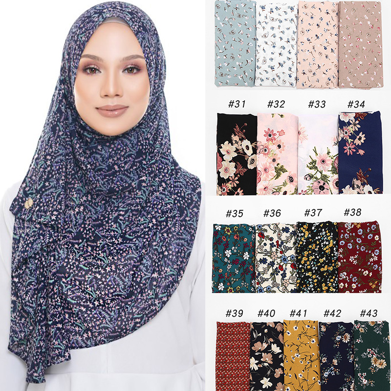 Printing Bubble Chiffon Hijab Scarf Design Flower Shawls Muslim Scarves Headscarf Wraps Turbans Long Scarves 43 COLORS