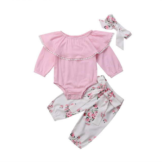 589c2fdfc99 3PCS Emmababy Newborn Baby Girls Long Sleeve Romper+Floral Pattern Pants+Headband  Hot Sale Outfit Clothes Set 0-24M