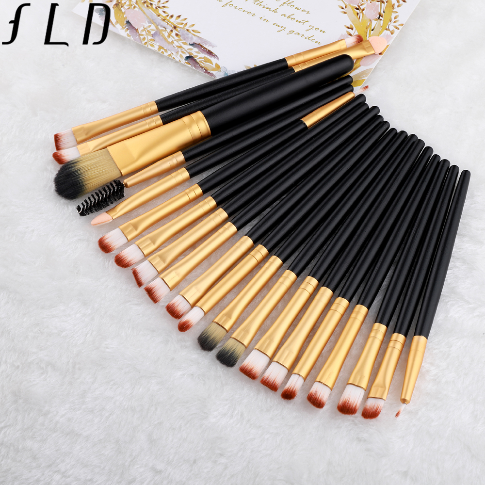 FLD 20 Pieces Makeup Brushes Set Eye Shadow Foundation Powder Eyeliner Eyelash Lip Make Up Brush Cosmetic Beauty Tool Kit 4