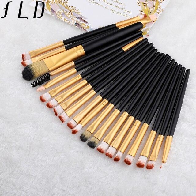FLD 20 Pieces Makeup Brushes Set Eye Shadow Foundation Powder Eyeliner Eyelash Lip Make Up Brush Cosmetic Beauty Tool Kit 3