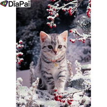 DIAPAI 100% Full Square/Round Drill 5D DIY Diamond Painting Cat snow scene Embroidery Cross Stitch 3D Decor A19510