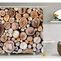 Vixm Rustic Shower Curtain Wooden Logs Background Circular Shaped Oak Tree Life and Growth Fabric Bath Curtains