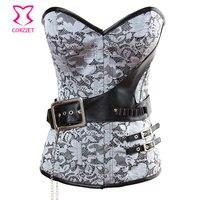 Silver Gray Brocade Steel Boned Waist Trainer Corset Sexy Burlesque Bustier Clothing Women Gothic Corselet Attach Faux Belt