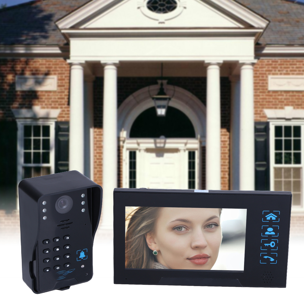 Villa-Type Video Doorbell 7inch LCD Wired Video Door Phone System Visual Intercom Doorbell Calendar Model Comes With Memory Card homefong villa wired night visual color video door phone doorbell intercom system 4 inch tft lcd monitor 800tvl camera handfree
