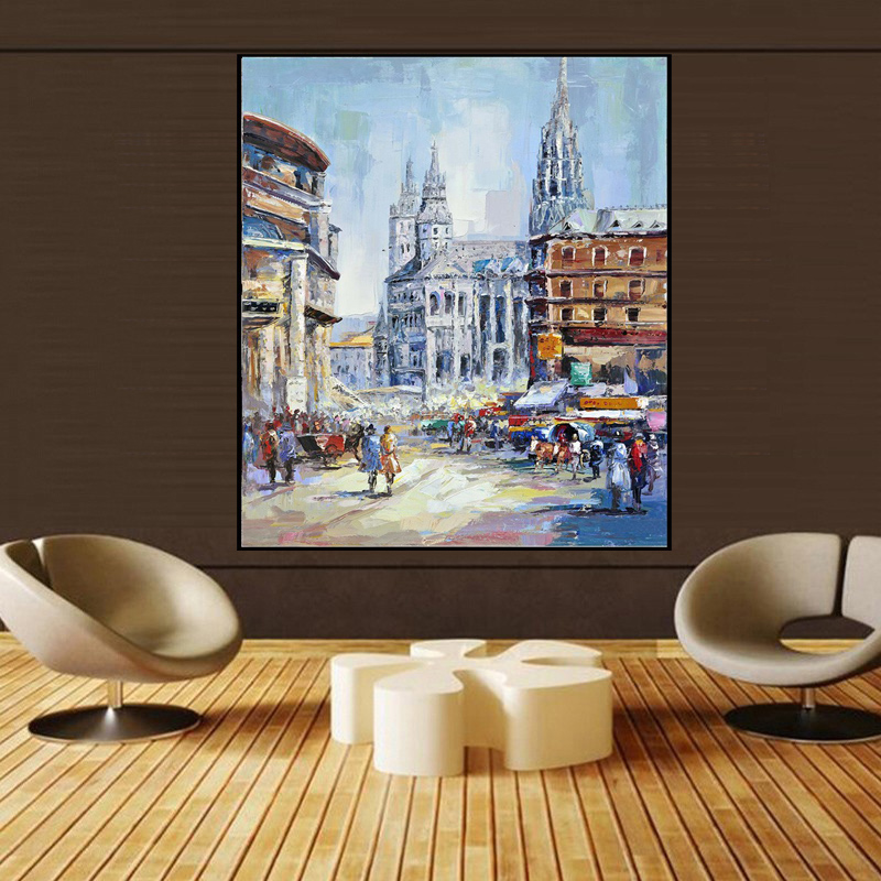 Europe Building Landscape Art Oil Painting Home Decoration Paintings Wall Bedroom Living Room Canvas Painting Unframed