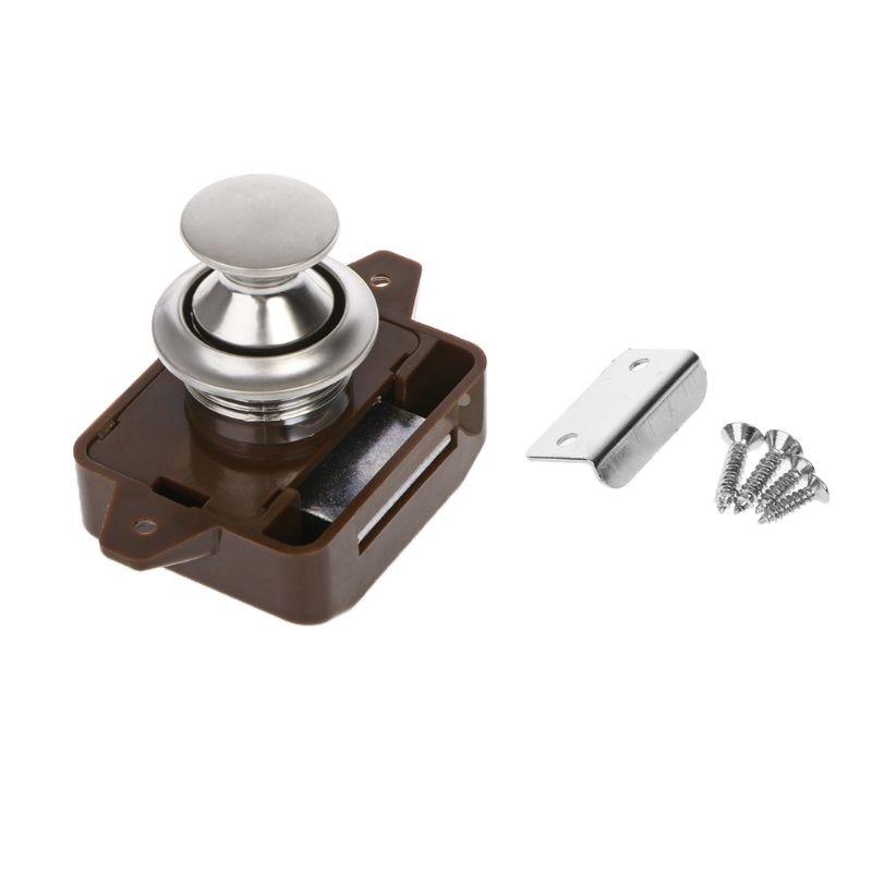 Camper Car Push Lock RV Caravan Boat Motor Home Cabinet Drawer Latch Button Locks For Furniture Hardware RV Parts & Accessories