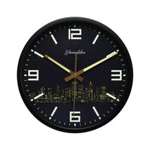 Newest 12 Inches Modern City Design Metal Frame Fashion Round Wall Clock LUMINOVA Decorative Wall clock