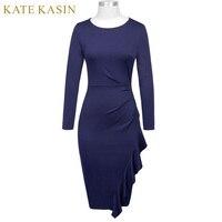 Kate Kasin Elegant Women S Long Sleeve Crew Neck Hips Wrapped Dress 2017 Autumn Office Lady