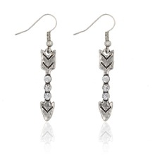 Top Selling Simple Design Antique Silver Plated Shield  Arrow Drop Earrings Charm Dangle Earrings For Women