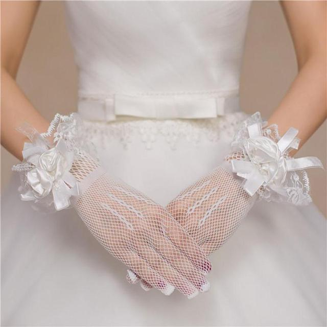 Sexy Women Mesh Gloves Fashion Gauze Lace Bow Clothing Accessories Glove Lady Female Party Thin Chiffon Gloves D1