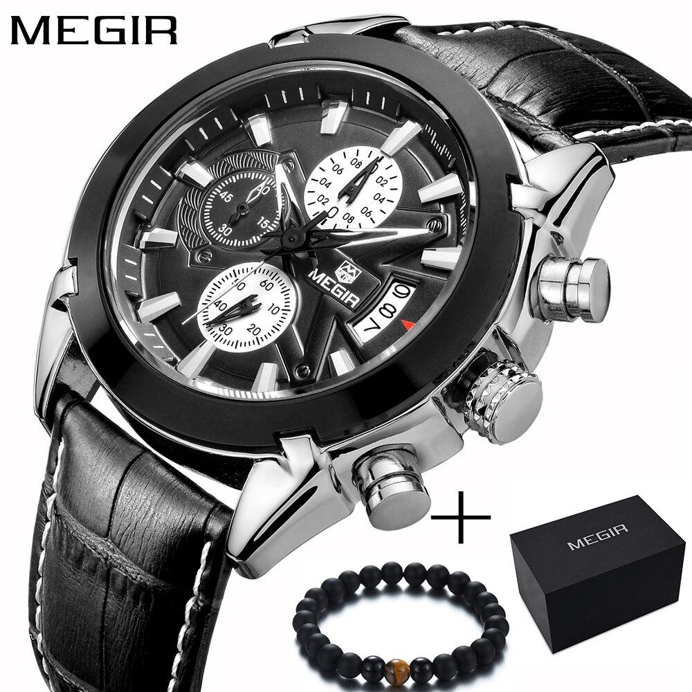 f84765e5bde Megir Relógio Do Esporte Marca de Topo Mens Relógios Cronógrafo de Pulso  Dos Homens Pulseira de