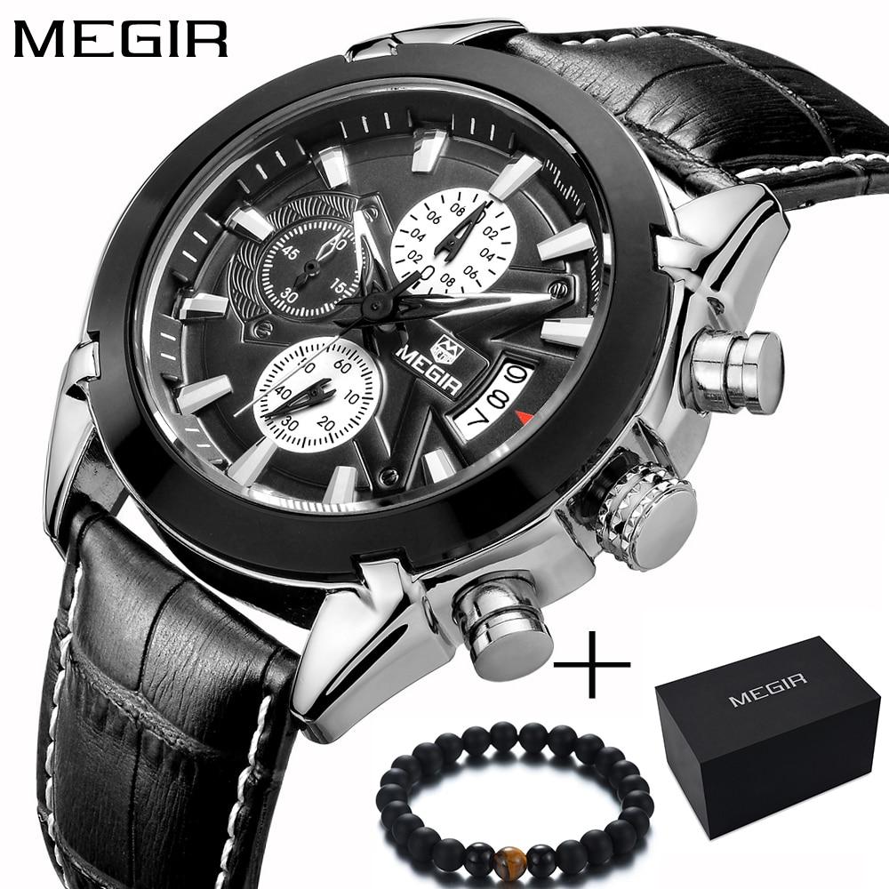 Megir Top Brand Sport Watch Mens Watches Chronograph Fashion Luxury Leather Band Men's Wrist Watches Quartz Cock Men sale 2020 цена
