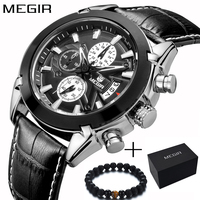 Megir Top Brand Sport Watch Mens Watches Chronograph Fashion Luxury Leather Band Men's Wrist Watches Quartz Cock Men sale 2020