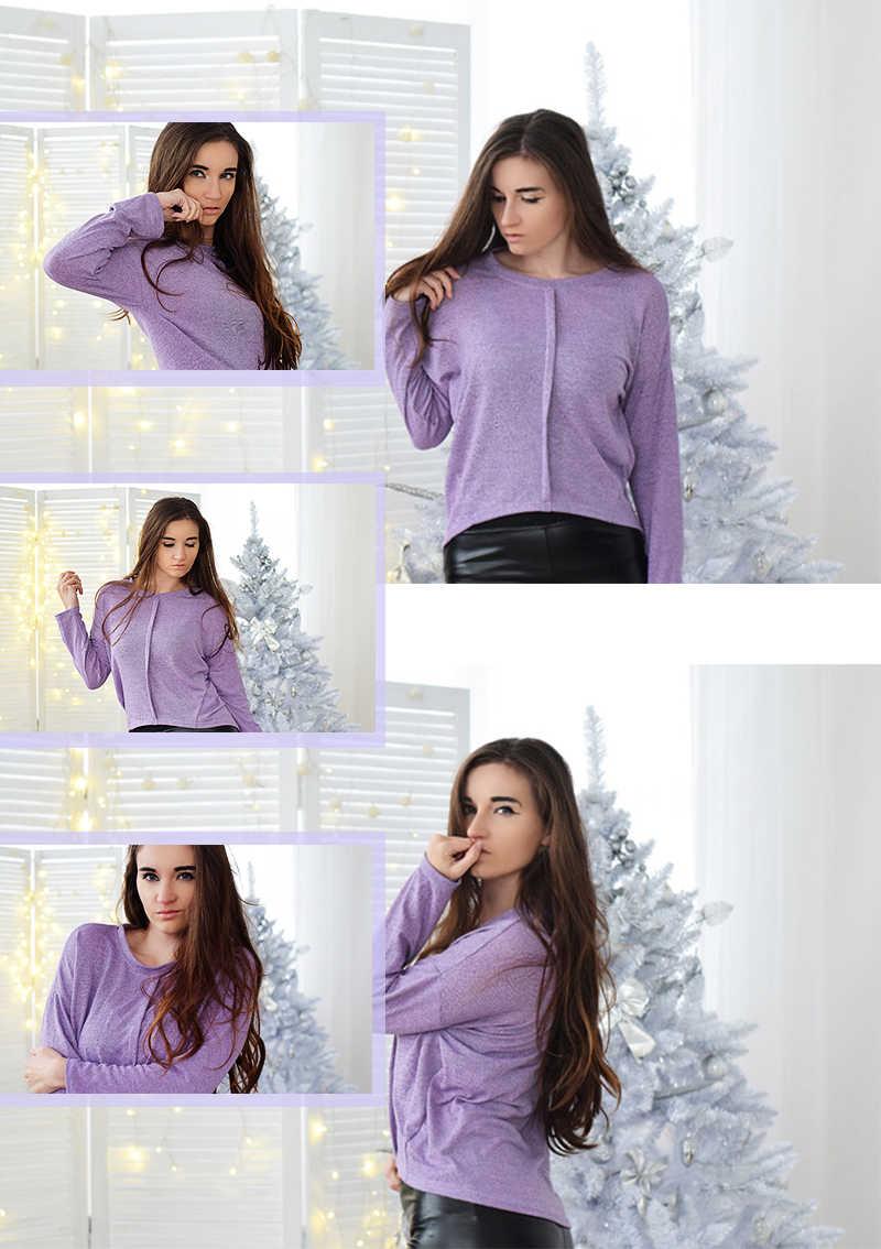 e52032ee8c7e ... Dotfashion Purple Drop Shoulder Dip Hem Marled Knit Tee Women Casual  Autumn Long Sleeve Tops Clothing