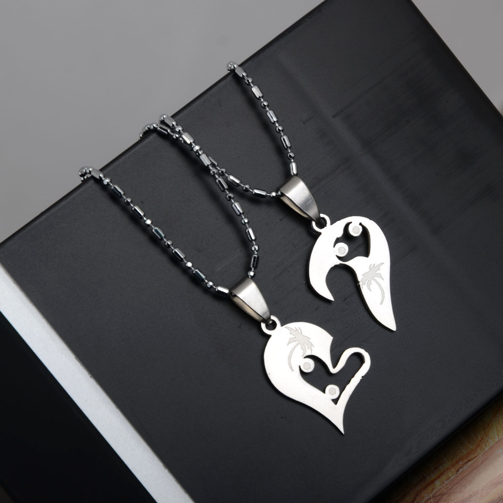 Sivler 316l Stainless Steel Two Heart Necklaces