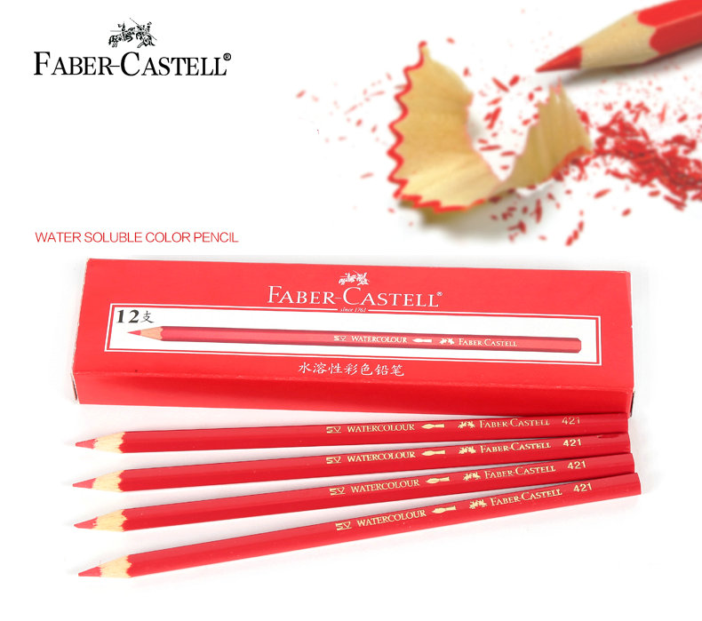 faber castell water soluble color pencil red color 421 colored pencils for drawing sketch. Black Bedroom Furniture Sets. Home Design Ideas