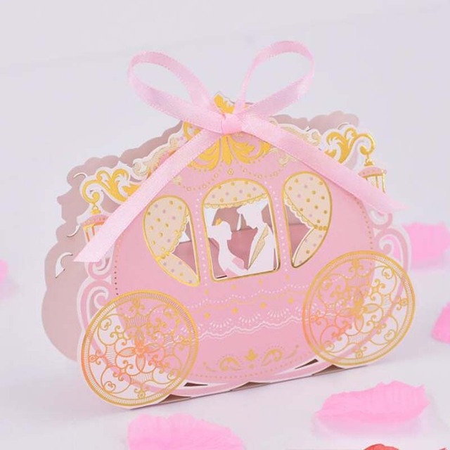 50pcs Pink Carriage Candy Boxes Sweets Packaging Box For Baby Shower
