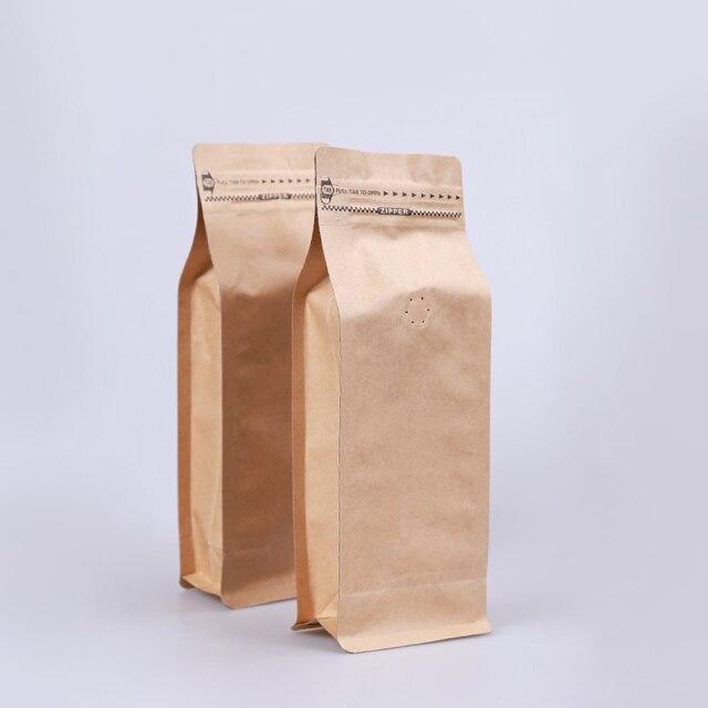 50pcs Whole 1 Pound Volume Kraft Paper Ziplock Bag Straight Shape Coffee Beans Packaging Eight