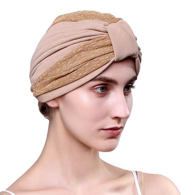 a34a357a337aa Women's Cap Dual-color Muslim Turban Hat Spring Summer Autumn Ladies Hats  Hairnet Chemo Cap