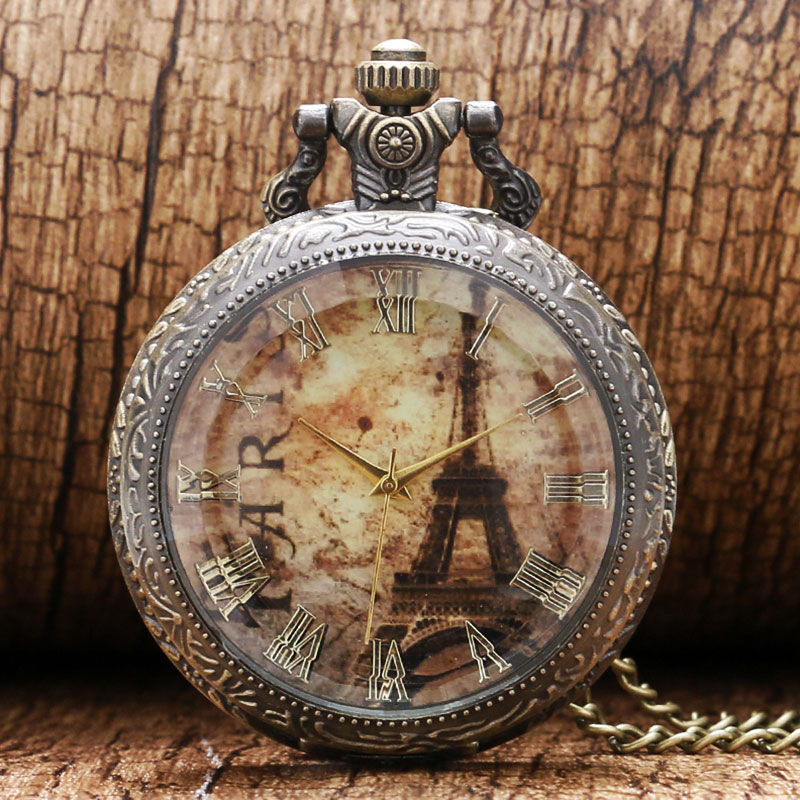 Fashion Glass Case Eiffel Tower Dial Design Pendant Pocket Watch With Necklace Chain Free Shipping