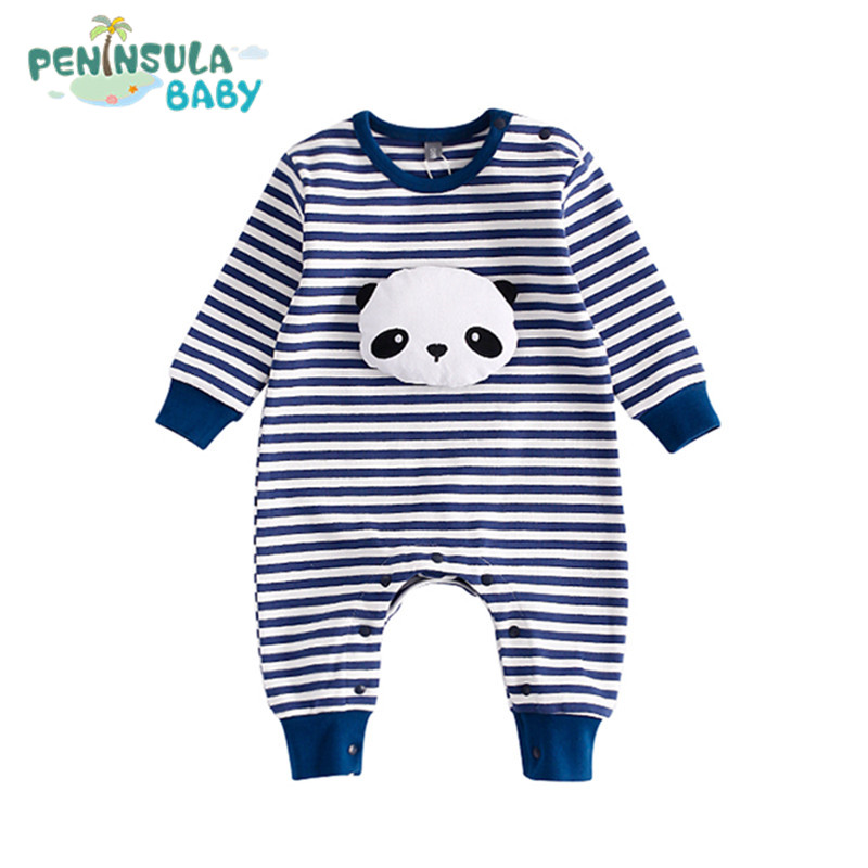 3D Panda Rabbit Baby Rompers Striped Newborn Baby Girls Boys Clothes Cartoon Cotton Long Sleeve Autumn Infant Jumpsuit Overalls newborn infant baby girl boys cute rabbit bunny rompers jumpsuit long sleeve clothing outfits girls sunsuit clothes