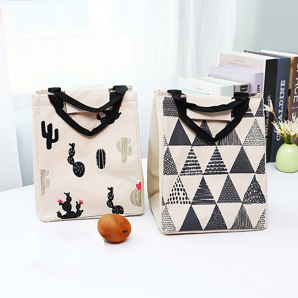 1 Pc Canvas Lunchbox Carry Tote Duurzaam Waterdicht Materiaal Draagbare Opbergtas Geïsoleerde Thermisch Geïsoleerde Picknick Case # Yl5 Pure Witheid
