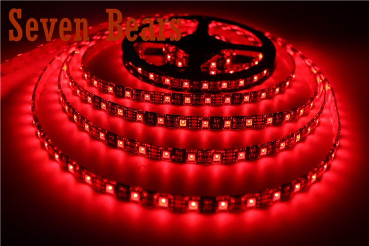 Waterproof IP65 5050 Black PCB LED Strip RGB Black PCB Board with Lights and 44Key controller + 12V 5A Power Source Free Ship