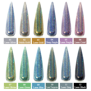 Image 4 - 1g/bottle Holographic Glitter Nail Art Pigment Powder Shining Laser Dipping Spangles Chrome Mirror Nail Polish Dust BE1028 1