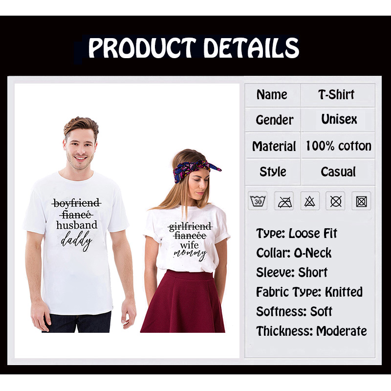 28fd45c976e EnjoytheSpirit Couple Tshirt Pregnancy Announcement Shirts Girlfriend  Fiance Wife Mommy and Daddy Matching Top Tee Fashion