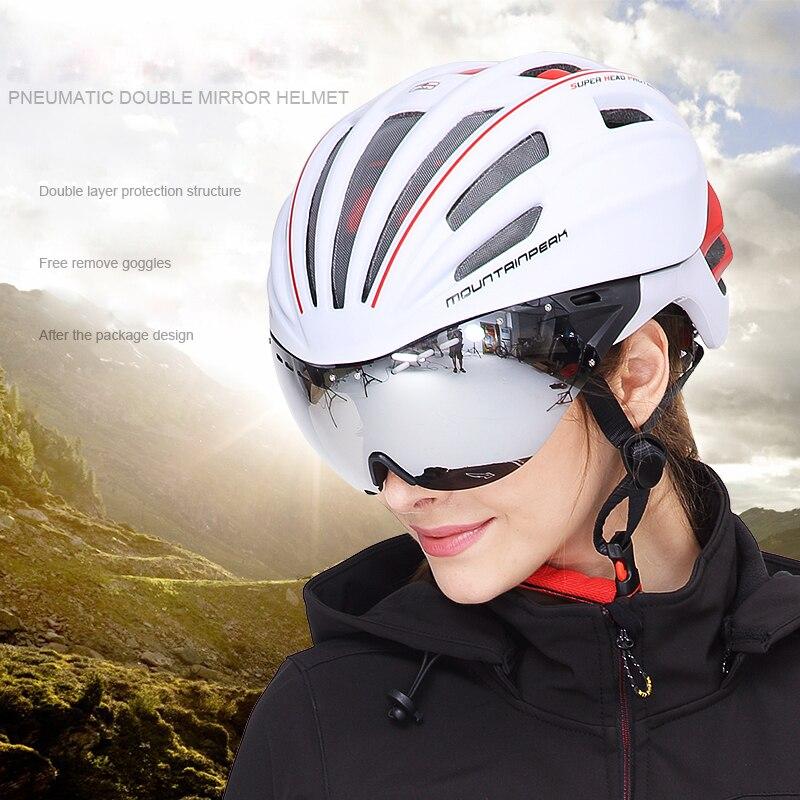 산악 자전거 헬멧과 고글을 타는 Mountainpeak unibody bicycle ride 헬멧 안경