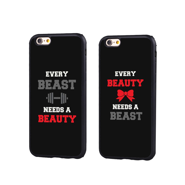 21ccf8e547 Beauty Beast Matching Couple Lover BFF Black Full Protective case Cover For  iPhone X 8 7 7Plus 6 6S Plus 5 5S 5C SE